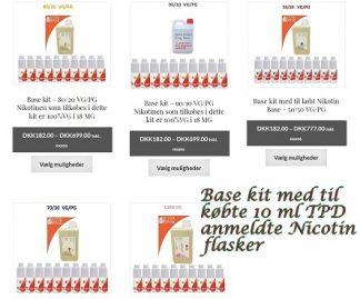 Base kit med til købte 10 ml TPD anmeldte Nicotin flasker